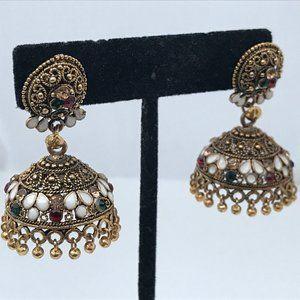 Jhumka Ethnic Traditional Earrings Gold Tone Fashi